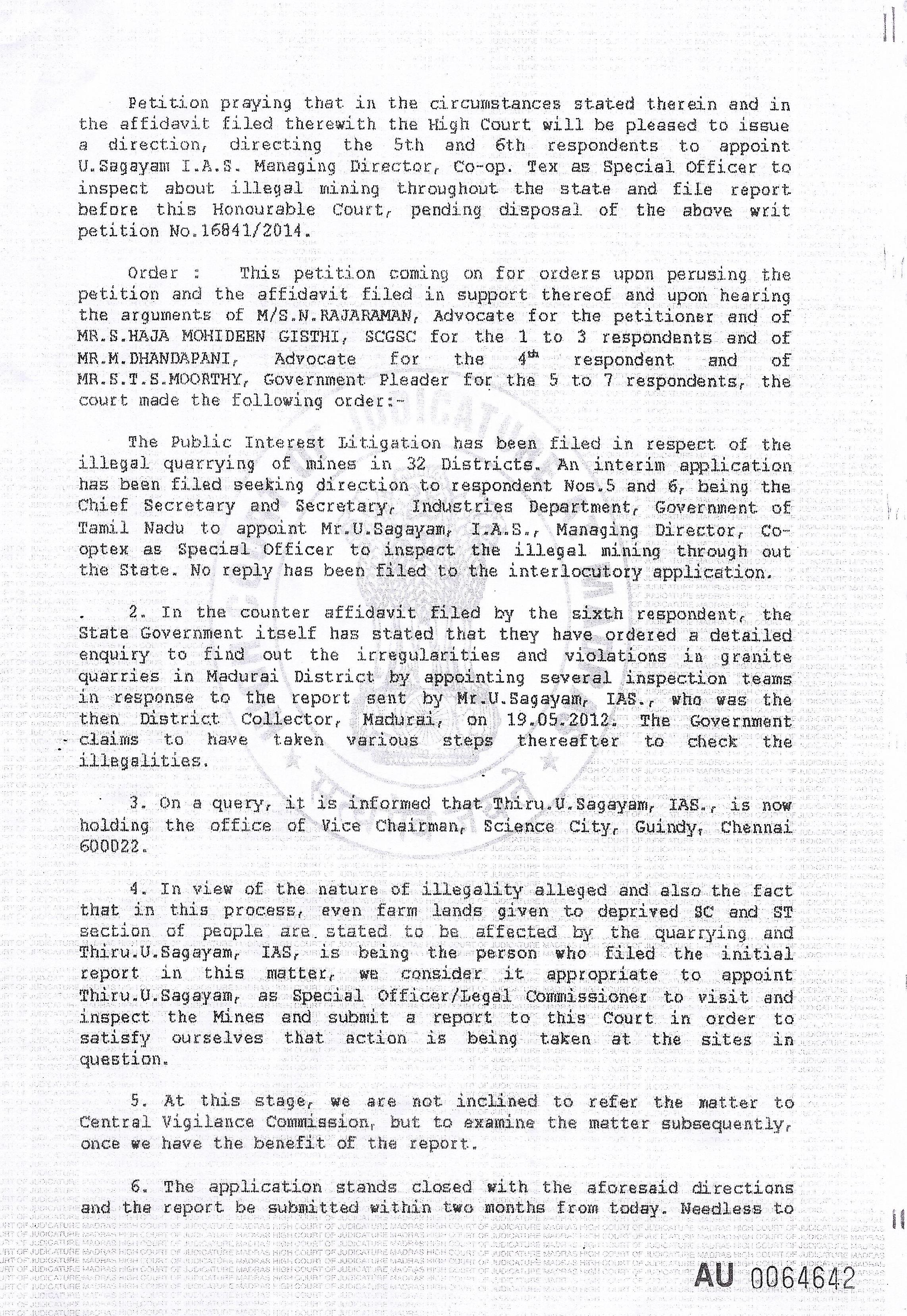 மணல் கொள்ளைகளைத்தடுக்கும் குழுவிற்கு தலைமையேற்றுள்ள உயர்திரு.சகாயம் அவர்களுக்கு துணைநிற்போம்! sagayam order 2